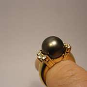 14K Natural Black Tahitian Pearl Ring