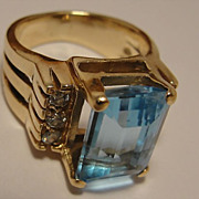 Estate 14K Blue Topaz & Diamond Ring