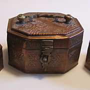 Old Copper Brass Jewery Boxes Caskets - Nesting Set 3