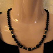 SOLD Vintage 14K Gold Black Onyx and Jade Necklace - Stunning
