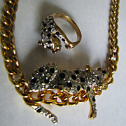 Reclining Panther Feline Leopard Necklace and Ring  Duchess Windsor