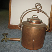Antique Georgian Inglenook Copper Kettle Stock Pot w/Brass Dispenser