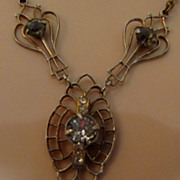 Antique Art Nouveau Lavalier Drop Necklace Filigree