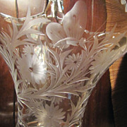 SOLD Heisey Crystal Basket Vase Butterflies Flowers Signed
