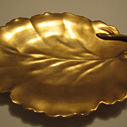 SOLD Antique JPL Limoges Pouyat Gold Serving Plate Dish France Leaf Shaped w/handle