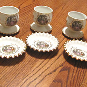 Lefton China Egg Cups w/saucers 10 pcs. - 1950's