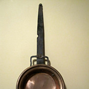 Antique Copper Pot  Pan Wrought Iron Handle