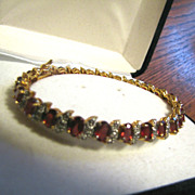 Sterling  Silver 925 Ruby Diamond Bracelet - Gold Vermeil