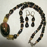 Jade Stone Beaded Sterling Silver Necklace & Earrings Set Crystals