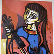 Irving Amen Woodcut Print Color Violist Abstract Artist Proof Signed