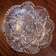 American Brilliant Cut Glass Scalloped Bowl Hawkes