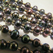Black Peacock Genuine Pearl Necklace and Bracelet 14K Gold Beads