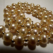 Genuine Cultured Pearl Necklace 14K Gold Beads