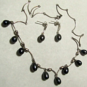 Black Tahitian Genuine Pearl Necklace Earrings Sterling 925