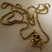 14K Gold Diamond cut Rope Chain Necklace with Gold Rose Charm Pendant 8.3 grams
