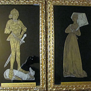 Old Pair Brass Rubbing Medieval Art Works Leventhorpe England Framed