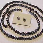 SOLD Tahitian Genuine Pearl 14K 585 Gold Necklace Bracelet Earrings Set Peacock IMI