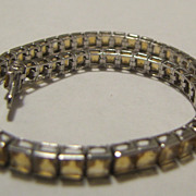 10k Solid WHITE GOLD Citrine Yellow Bracelet 8.7 grams Large