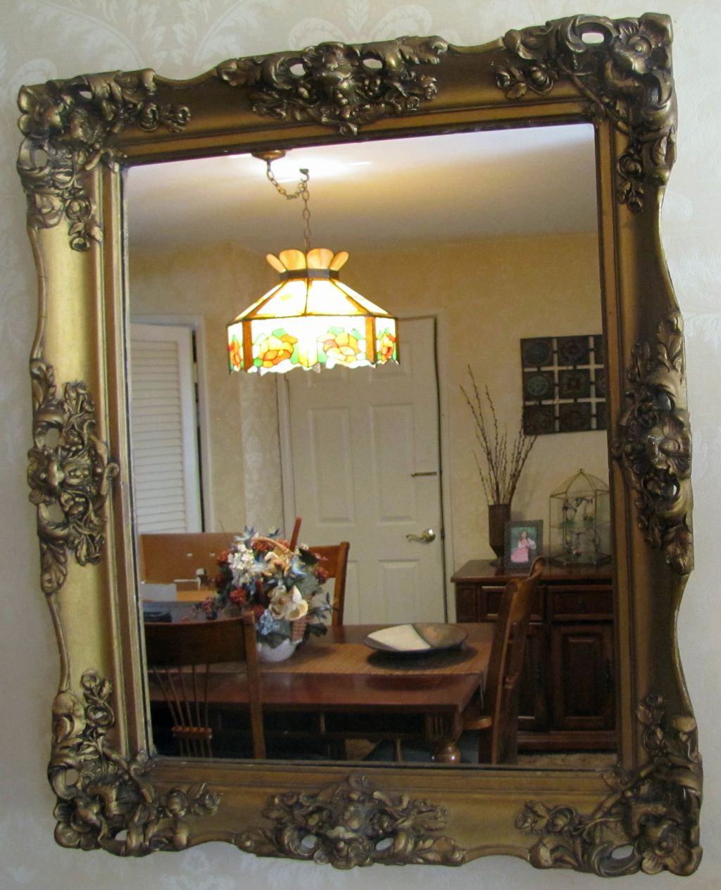 ANTIQUE VICTORIAN 19TH CENTURY Wall Mirror with Gilded Wood and Gesso Frame