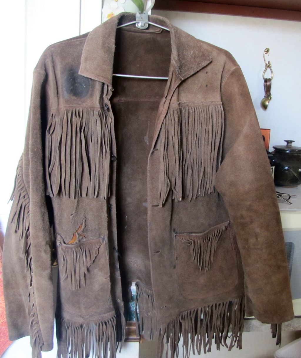 Vintage AUTHENTIC BUCKSKIN Suede Jacket Coat Long Fringe Western