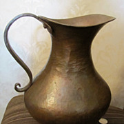 Vintage Solid Copper Large Pitcher Ewer Hand Made Hammered Arts & Crafts