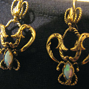 Antique 14K 84 Gold Art Nouveau Opal Chandelier Earrings Russian