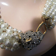 KJL Kenneth Lane Pearl Necklace with Panther Rhinestone Clasp Runway 8 Strands