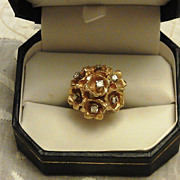 SALE Vintage Cocktail Ring 14kt Gold and Diamonds