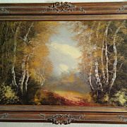 SALE Vintage Schaeffer Original Oil on Canvas in Gold Gilded Frame