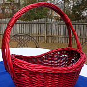 Large Vintage Oval Red Wicker Basket