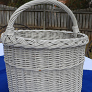 White Vintage Gathering Wicker Basket