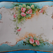 Hand Painted Porcelain Vanity Tray, Signed Black.