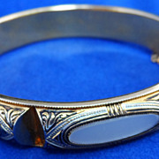 Mother of Pearl Damascene Hinged Cuff Bracelet