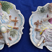 Hand Painted Bisque Porcelain Victorian Style Figurine Plaques