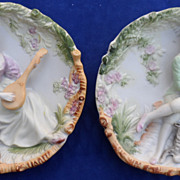 Lovely Porcelain Bisque Figural Wall Plaques