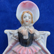 Pretty Porcelain Girl In Hoop Skirt Wall Pocket