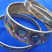 Vintage Abalone Silver Bangle Bracelets