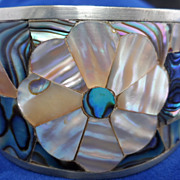 Vintage Alpaca Silver Abalone/Mother of Pearl Cuff Bracelet