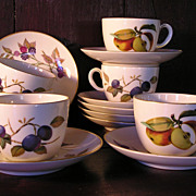 "Six Royal Worcester ""Evesham"" Cups and Saucers"