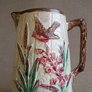 Majolica Pitcher, Bird & Foliage Decoration