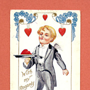 Valentine Postcard, Cupid as Butler