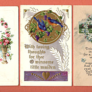 Lot of 3 Vintage Romantic Postcards