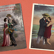 Lot of 2 Vintage Romantic Postcards