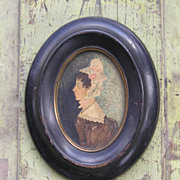 American Watercolor Portrait in Period Frame