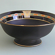Egyptian Deco Footed Glass Bowl