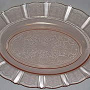"American Sweetheart Pink Depression Glass 13"" Oval Platter Macbeth Evans"