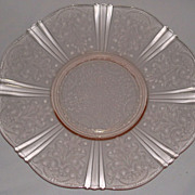 American Sweetheart Pink Depression Glass Cake Plate Salver Macbeth Evans
