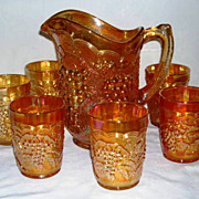 Imperial Glass Grape No. 473 Carnival Glass Pitcher and Tumblers Set