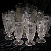SOLD Depression Glass IRIS AND HERRINGBONE Pitcher & Footed Ice Tea Tumbler Set