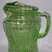 Sharon Green Depression Glass Pitcher w/ Ice Lip Very Rare In Green!
